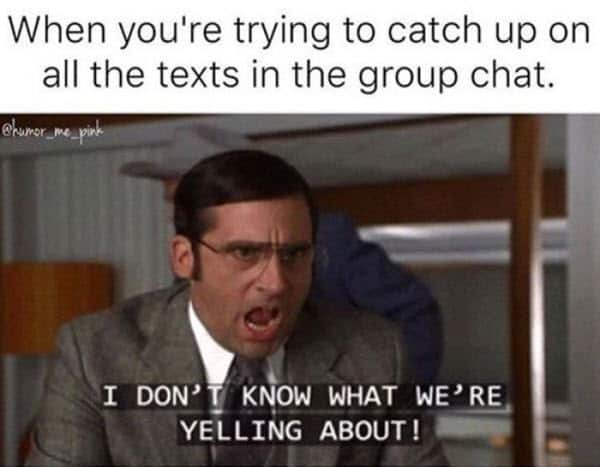 group chat catch up meme