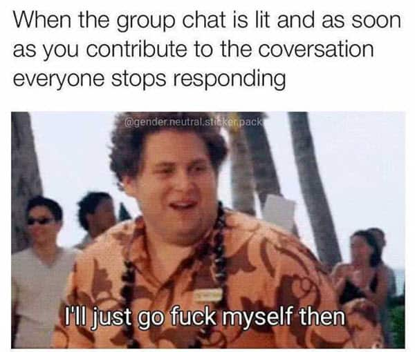 group chat contribute to the conversation meme