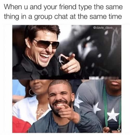 group chat type the same time meme