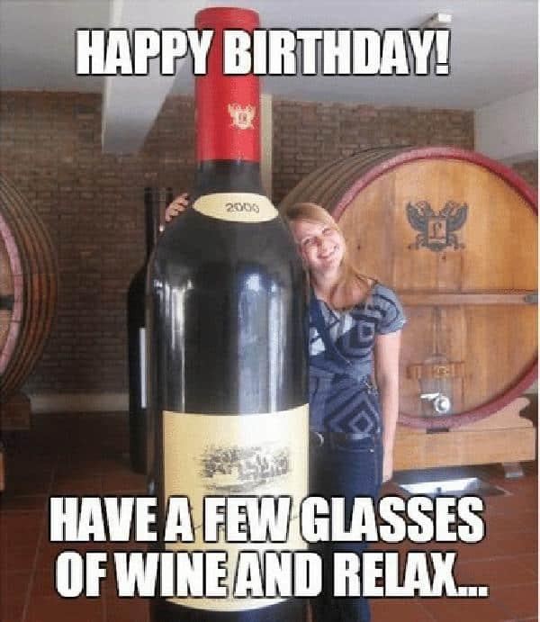 happy birthday wine few glasses meme