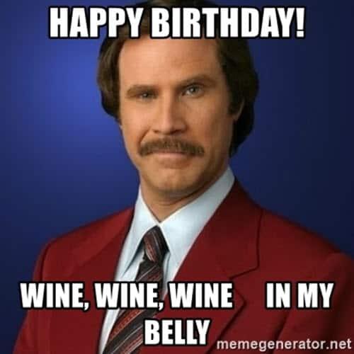 happy birthday wine in my belly meme
