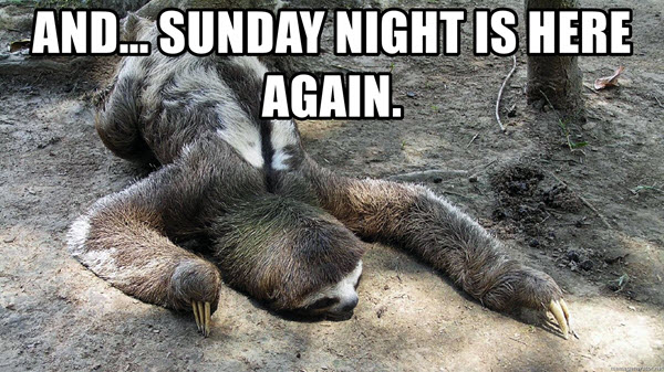 and sunday night is here again meme