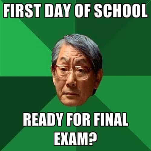 first day of school final exam meme