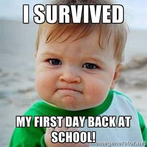 first day of school i survived meme
