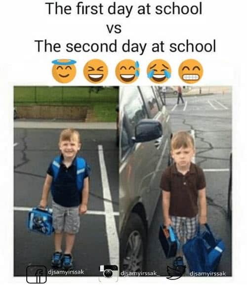 first day of school vs 2nd day meme