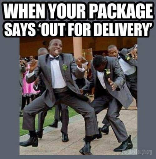 happy dance out for delivery meme
