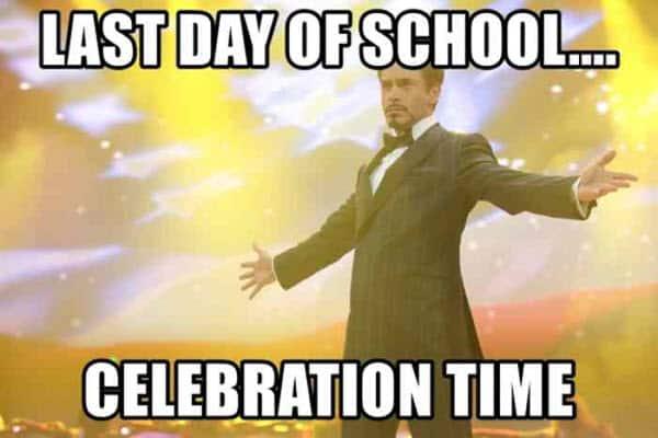 last day of school celebration time meme