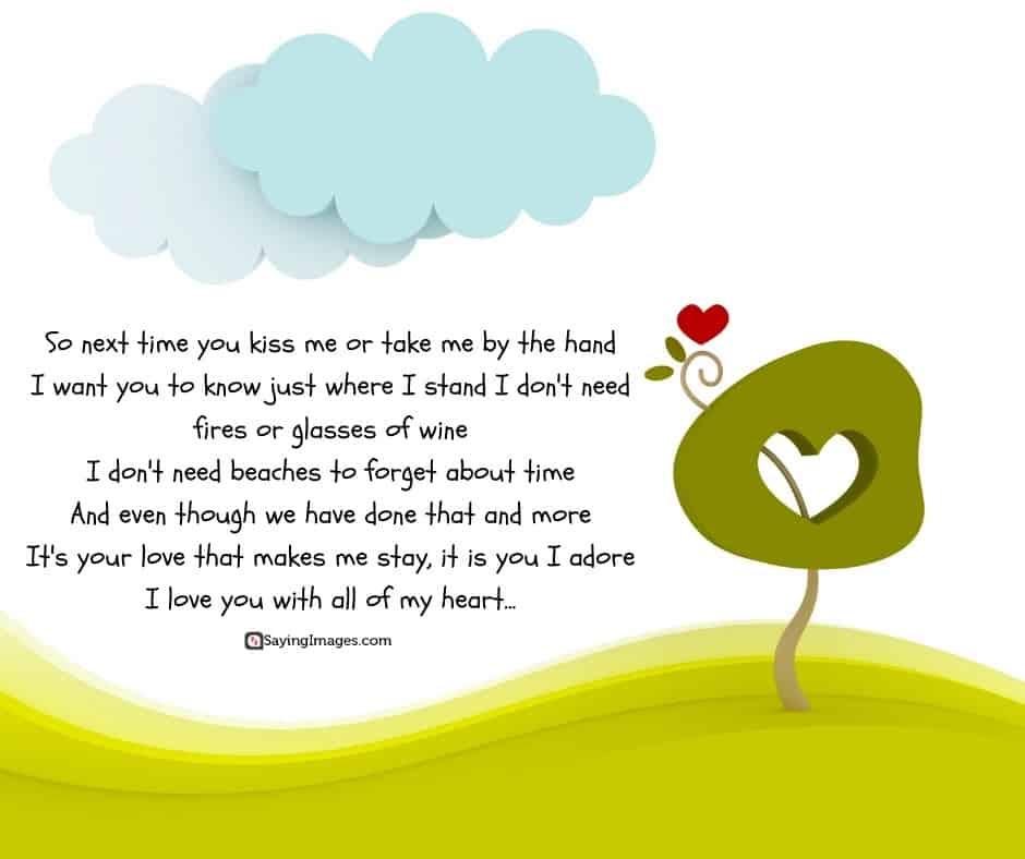 romantic love kiss poems