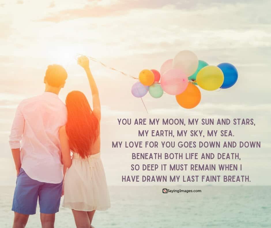 romantic love moon poems