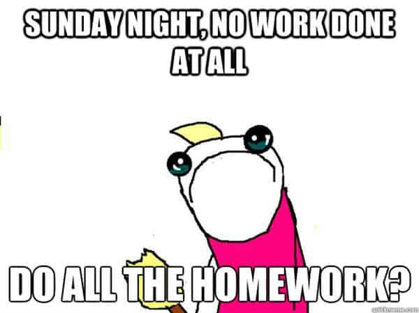 sunday night no homework done at all meme