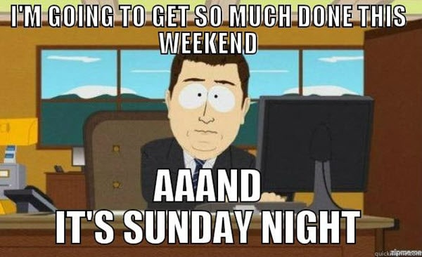 sunday night weekend meme