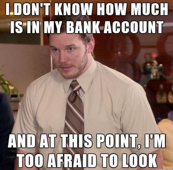 broke bank account meme