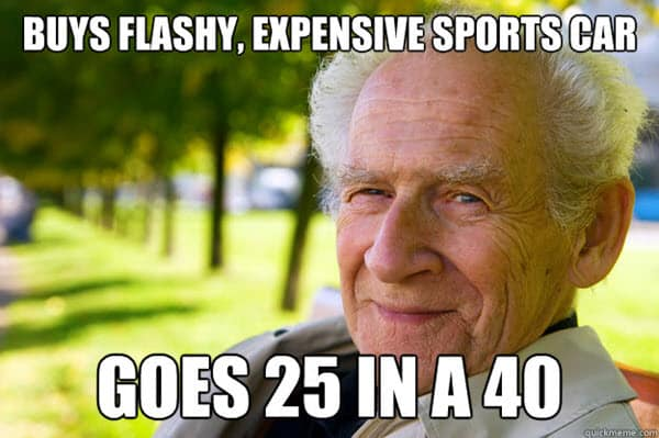 old people expensive sports car memes