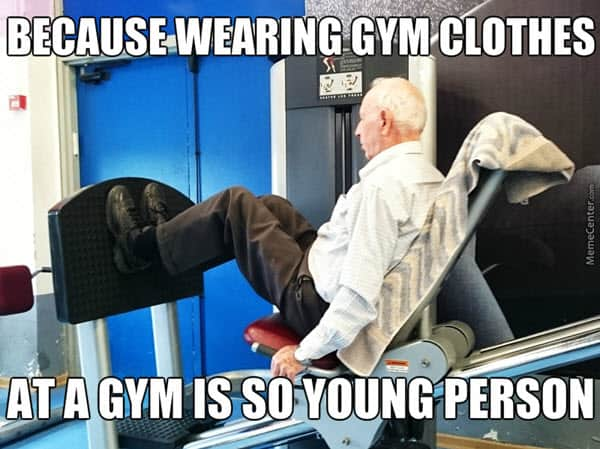 old people wearing gym clothes memes