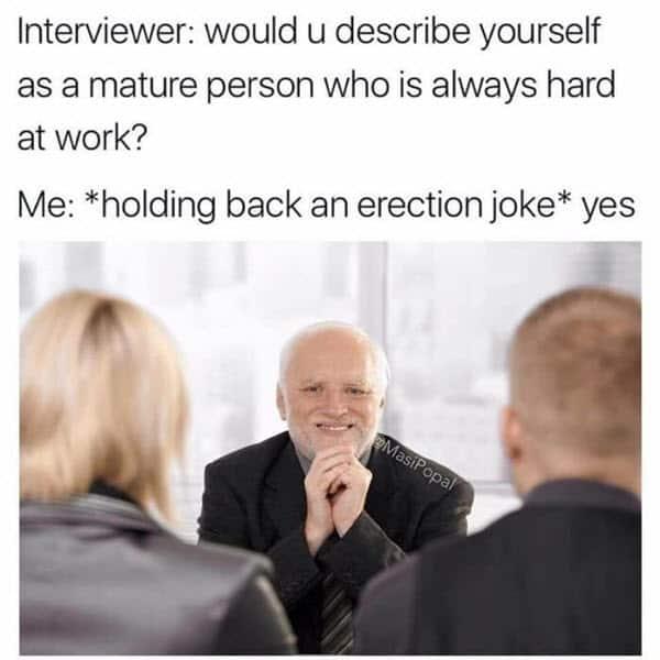 job interview describe yourself meme