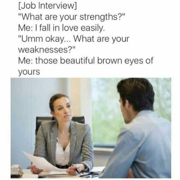 job interview fall in love meme