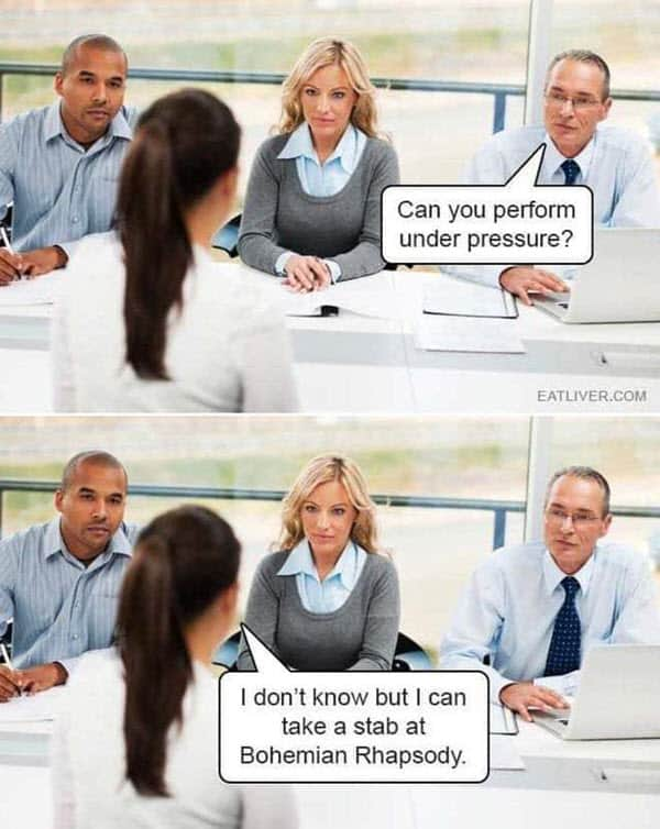 job interview under pressure meme