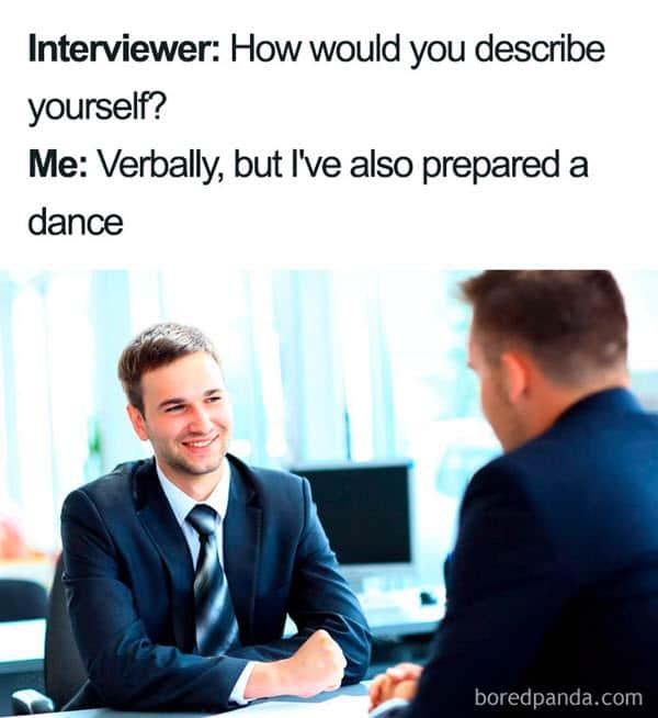job interview verbally meme
