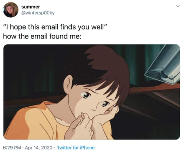 hope this email finds you well tears memes