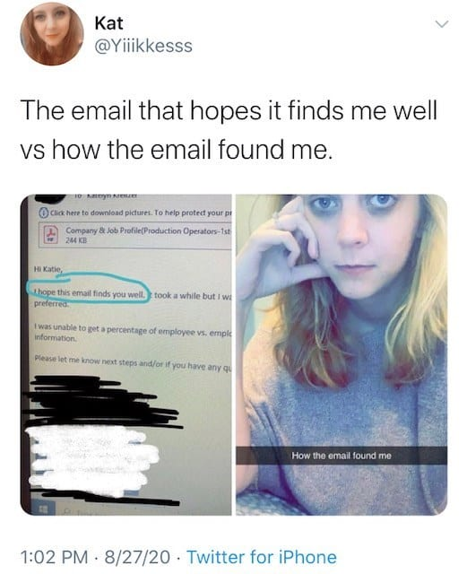 hope this email finds you well vs memes