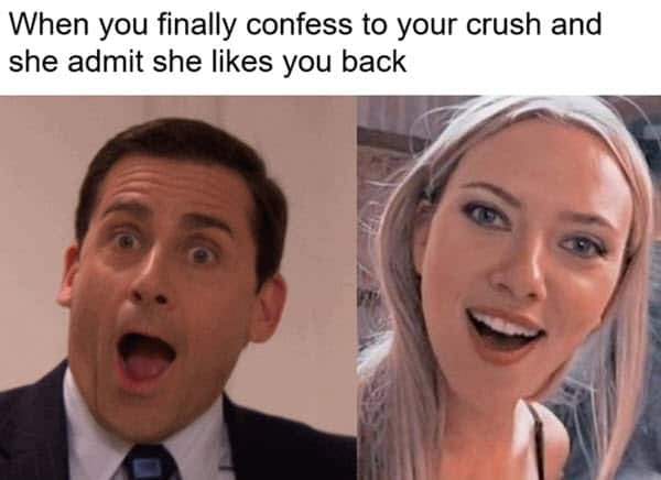 surprised face confess to your crush meme