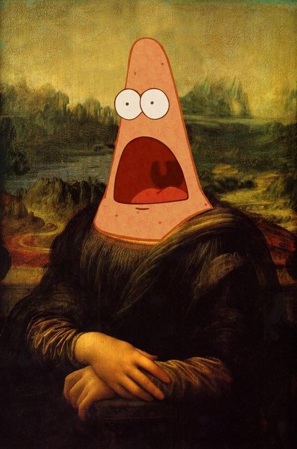 surprised face patrick monalisa meme