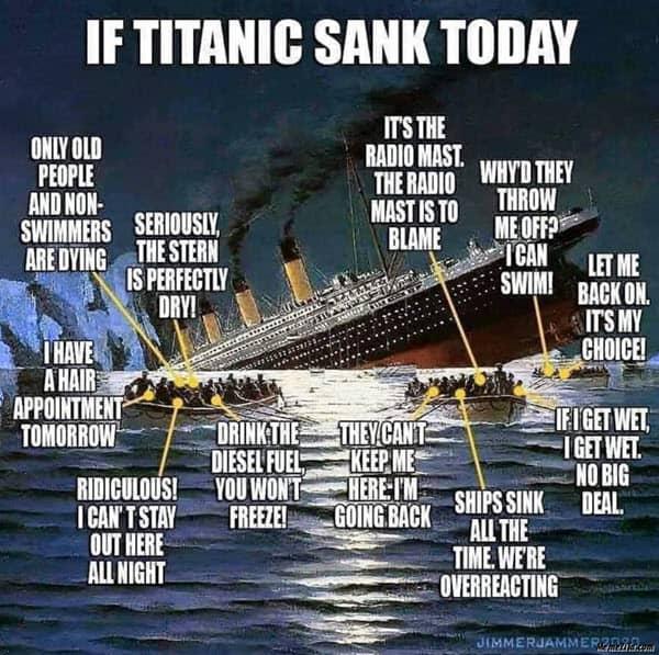 titanic sank today meme