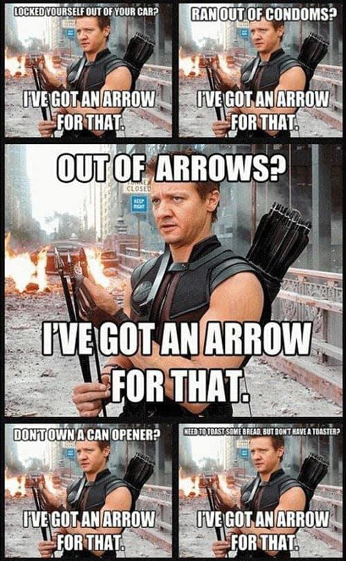 avengers hawkeye arrows meme