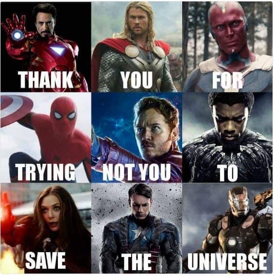 avengers thank you meme