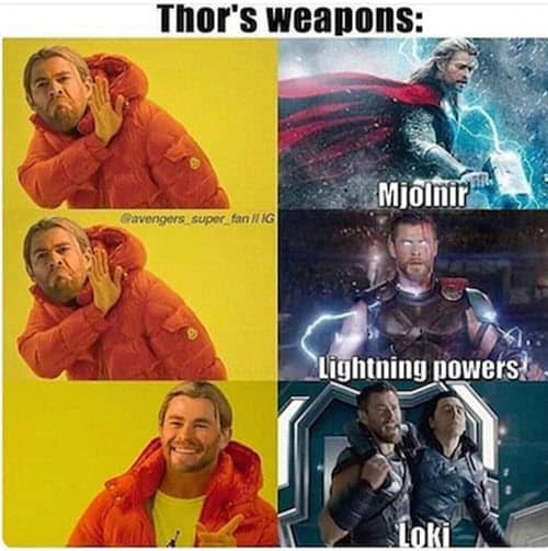 avengers thors weapons meme