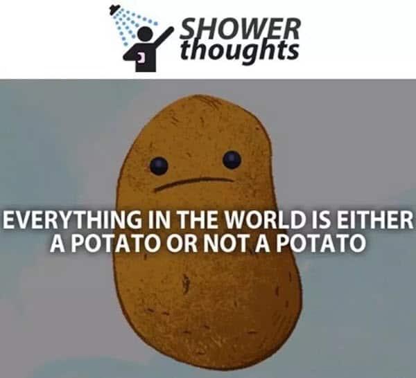 potato shower thoughts meme