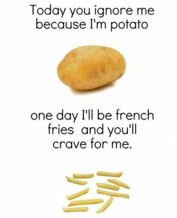 potato today ignore me meme