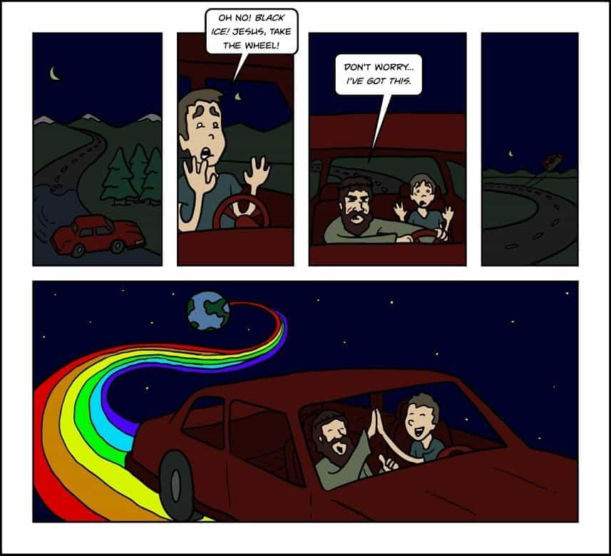 Black ice Jesus take the wheel Meme
