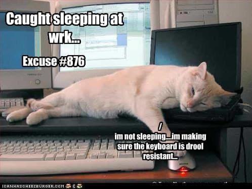 Caught sleeping at work Drooling Meme