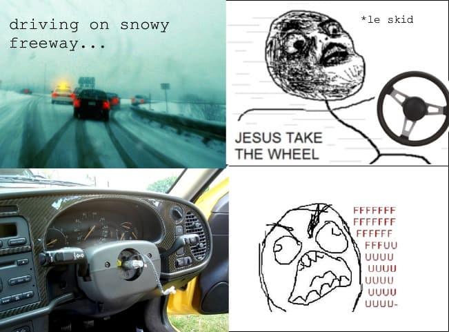 Driving on snow Jesus take the wheel Meme
