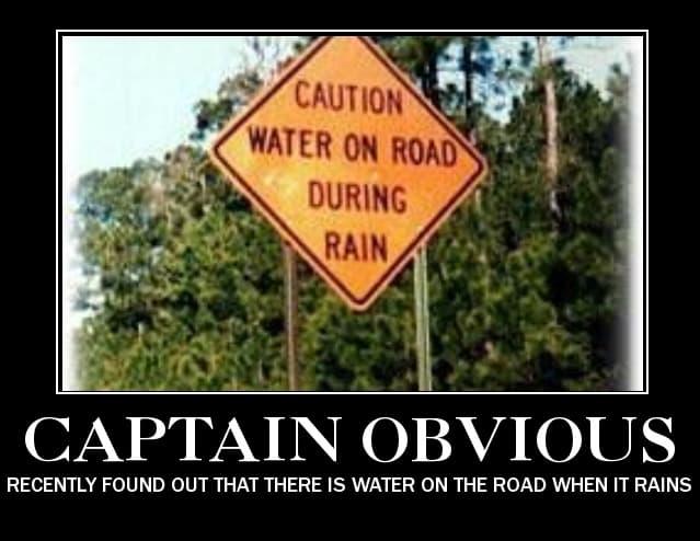 Rain on the road Captain obvious Meme