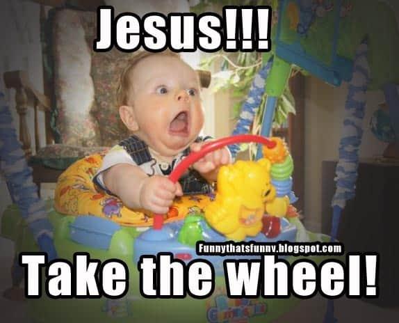 Scared kid Jesus take the wheel Meme