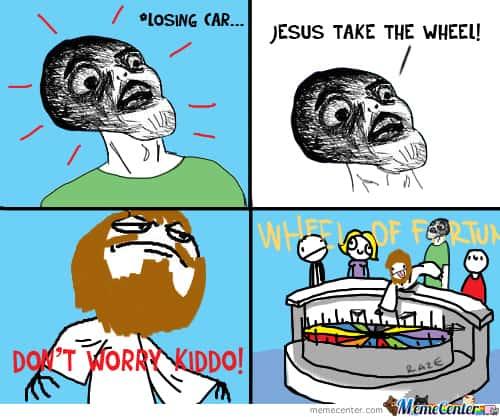 Wheel of fortune Jesus take the wheel Meme