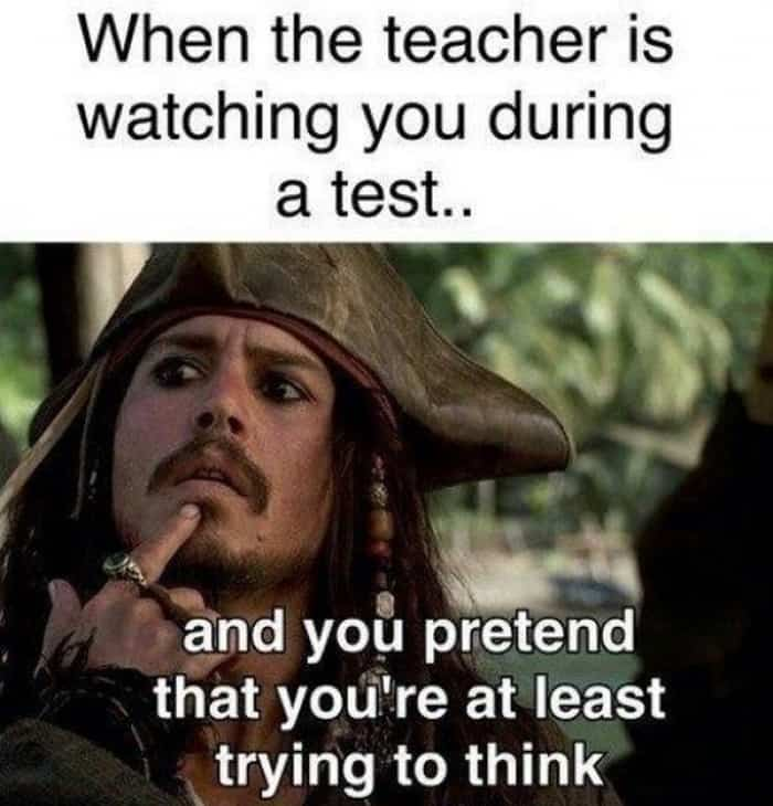 When teacher is watching you Test Meme