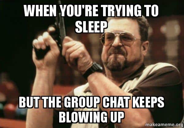 When you are trying to sleep Group chat Meme