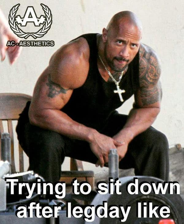 after leg day trying to sit down meme