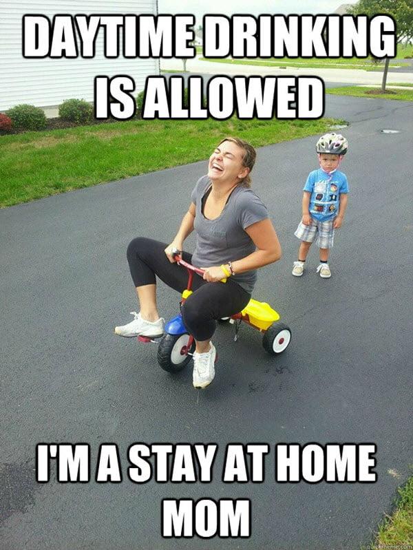bad mom daytime drinking meme