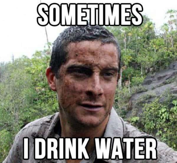 bear grylls sometimes i drink water meme