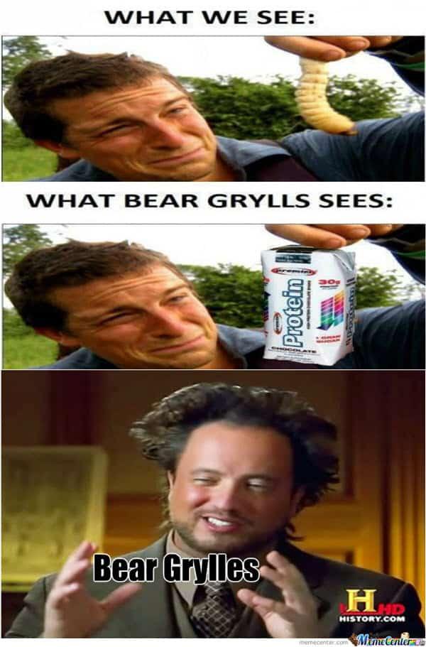 bear grylls what we see meme