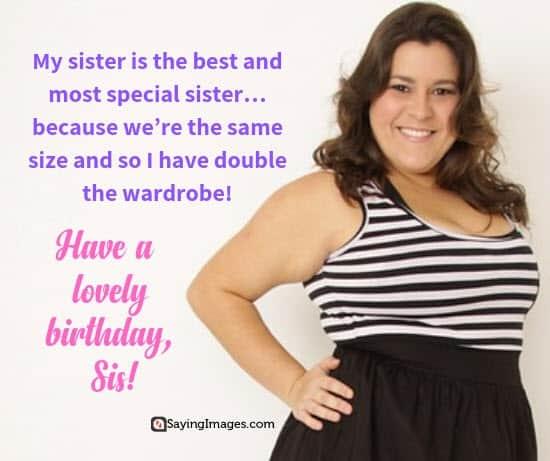 birthday wishes wardrobe sister
