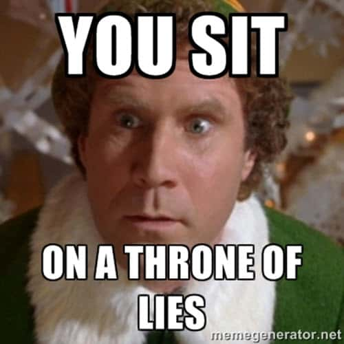 buddy the elf throne of lies meme