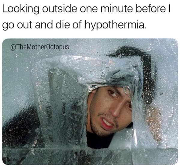 cold weather looking outside meme