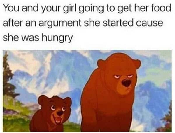 couple get her food after an argument memes