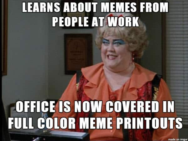 coworker learns about meme
