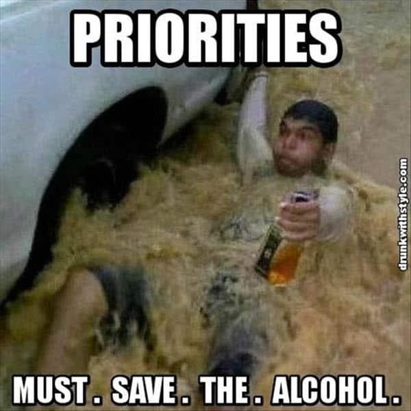 drinking priorities meme